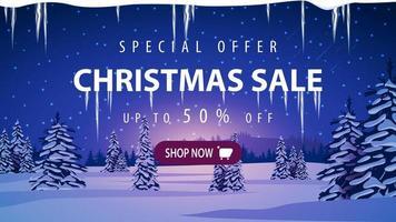 Weihnachtsverkauf, Rabatt Banner mit Winterlandschaft vektor