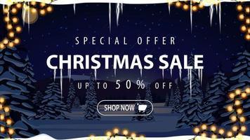 Weihnachtsverkauf, Rabattbanner mit Nachtwinterlandschaft vektor