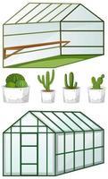 nära och öppen vy över tomt växthus med många växter i krukor