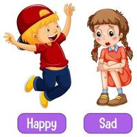 motsatta adjektivord med glad och ledsen