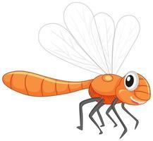 niedliche Libellen-Zeichentrickfigur lokalisiert auf weißem Hintergrund