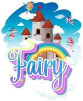 fe logotyp med små älvor på regnbåge himmel bakgrund vektor
