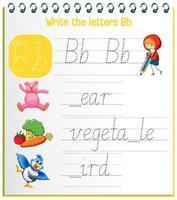 engelska alfabetet spårning kalkylblad