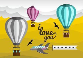 Heißluftballon-Liebe-Anmerkungs-vektorentwurf vektor