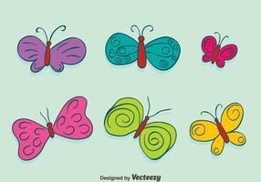 Handgezeichnete farbige Schmetterlings-Sammlungsvektoren