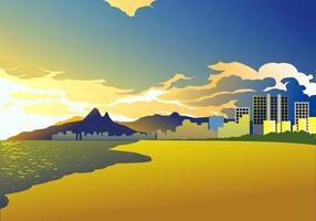 Solnedgång Av Copacabana Gratis Vektor