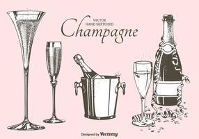 Fizz Champagne Flöjter, Flaskor Och Skopa Vektorillustration