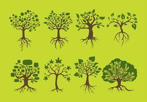 Träd med rötter fri vektor