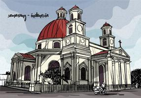 Kolonial Vintage Vektor Illustration av Semarang Indonesien