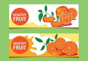 Clementine Frukt på Banderoll Bakgrund vektor
