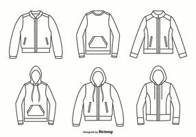 Jacken, Kapuzenpullis und Pullover Umriss Vektor Design