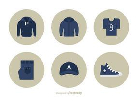 Lässige Kleidung Flat Vector Icon Set