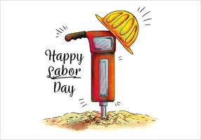 Vattenfärg Rivning Hammer för Labor Day Vector