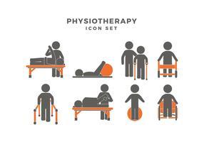 Physiotherapie Icon Set Freier Vektor