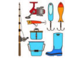 Set Ausrüstung Icon Of Fishing Tackle vektor