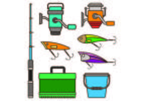 Set Ausrüstung Icon Of Fishing Tackle vektor