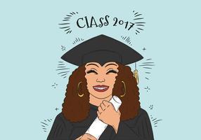 Handdragen Graduate Woman Character Vector