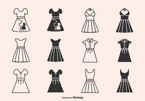 Retro 50s Kleider und Röcke Silhouette Vektor Icons