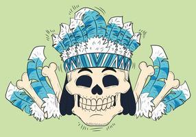 Gullig skalle med fjädrar Hatt Tribal Style vektor