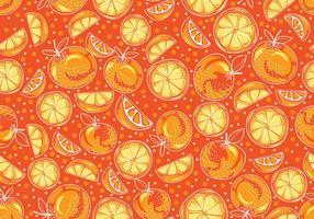 Seamless handdragen gul clementin vektormönster vektor