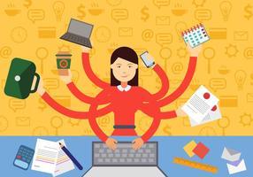 Kvinna i multitasking situation vektor