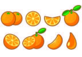 Sats av Clementine Frukt Ikoner vektor