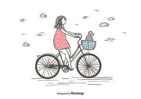 Mädchen Reiten Fahrrad Vektor
