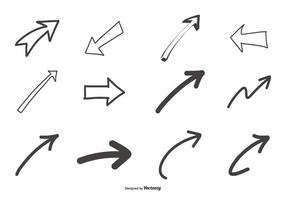 Handdragna pilar samling vektor