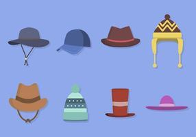Flat hatt samlingar vektor