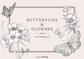 Handdragen fjärilar och blommor Vektor bakgrund