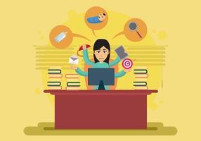 Kvinna som arbetar för mycket i kontorsillustrationen vektor