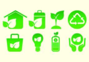 Set von biologisch abbaubaren Icons vektor