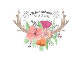 Söt Boho Blommor Blad och Horn vektor