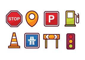 Trafik och navigations ikonuppsättning