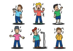 Menschen singen Vektor-Illustration gesetzt vektor