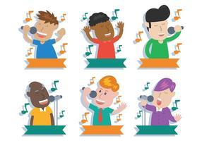 Folk som sjunger vektor illustration uppsättning