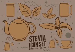 Stevia Diätetische Ergänzung Icons vektor