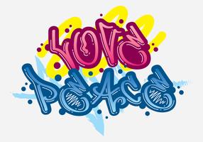 Liebe und Frieden Grafiti vektor