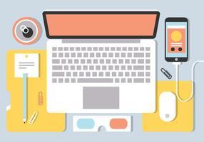 Free Flat Workspace Vektor Hintergrund