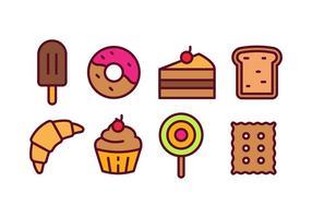 Bäckerei und Gebäck Icon Pack vektor