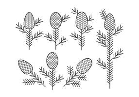 Flat Outline Pine Kegel Elemente. vektor