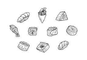 Kostenlose japanische Lebensmittel Hand gezeichnet Icon Vektor