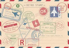 Set von Retro-Briefmarken-Vektoren vektor