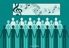 Flat Style Group of People Singing vektor