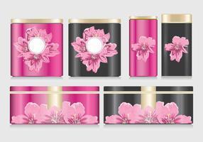 Blumen auf Zinn Box Mockup Vektor