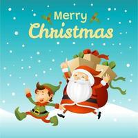 Weihnachtsmann und Elf laufen auf Schneefeld vektor