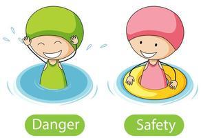 motsatta ord med fara och säkerhet vektor