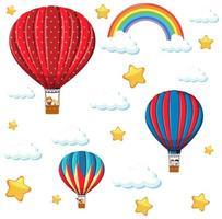 sömlös färgglad ballong med regnbåge och stjärnmönster