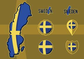 Fahne Karte von Schweden vektor