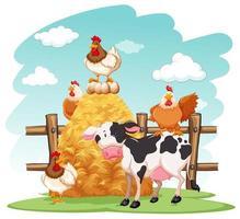 gårdsplats med många djur på gården vektor